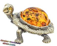 Bronze Solid Brass Baltic Amber Figurine Cheerful Turtle Statuette