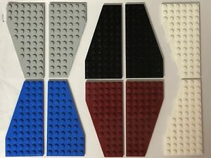 2x Lego Wing Wedge Flat Plate 12x6 Right Left Black White or Grey 30355 30356