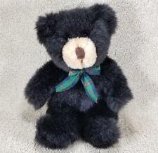 "Plush 8"" Bear Black Animal Adventure Inc Green Red Bow Bean Stuffed 1999 Holiday"