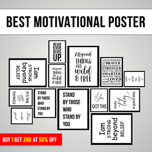Motivational and Inspirational Quotes Poster Large Wall Artwork Print with frame