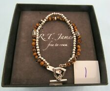 Strand Bracelet Brown and Silver Tone 1 Rt James Free To Roam Mens Beaded Double