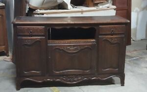 Antique Oak French Country 3 Door Sideboard