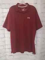 Under Armour Men's Loose Short Sleeve Heat Gear Polo Golf Shirt - Maroon Red XL