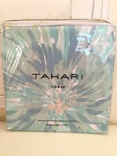 New TAHARI HOME ROUGE Cotton Polyester Blue Green Floral Bath Shower Curtain NIP