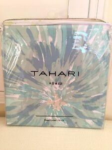 "TAHARI HOME Cotton Polyester SHOWER BATH CURTAIN Blue Green Floral 72X72"" NEW"