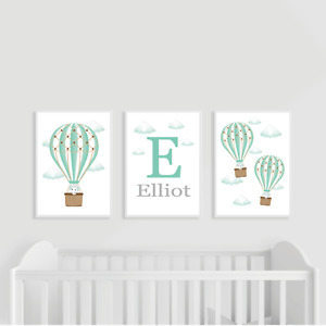 Hot Air Balloon Nursery Prints, Set of 3, Teal, Green, Personalised, Elephant