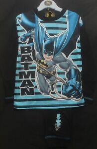 Boy's BATMAN Pyjamas / Black & Blue Long-Sleeved PJs - Sizes 4-10 Years