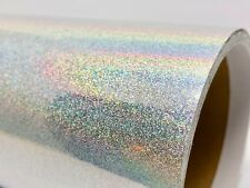 "12"" X 30'ft - Silver Glitter Holographic Craft & Hobby Cutting Vinyl Film"
