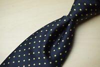 Brioni Midnight Blue Gold Dainty Polkadot 100% Silk Mens Tie Made in Italy