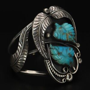 """VTG Sterling Silver - HEAVY NAVAJO Hand Signed Turquoise Cuff 6"""" Bracelet - 76g"""