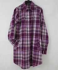 Round Neck Checked Long Sleeve Shirt Dresses for Women