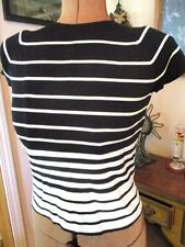 NEW Black & White STRIPED Rayon Nylon MILEY CYRUS Cap Sleeve KNIT Top/Size M