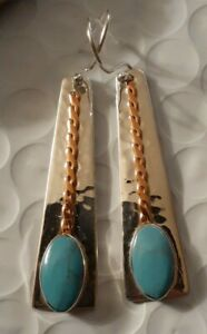 """Taxco Fine Sterling Silver Turquoise copper accents 2.25"""" Dangle Earrings"""