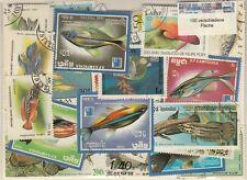 100 verschiedene Briefmarken Fisch , Fische , fish , fishes , pescados