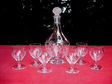 BACCARAT ST LOUIS SET GLASSES SERVICE DE VERRE CARAFE CRISTAL GRAVÉ ART DECO AA