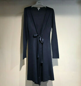 armani collezioni navy long cardigan silk & cotton with tie uk size 8