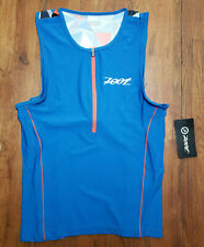 NEW Zoot Mens M Tri Tank Performance Top Blue Compression Triathlon Shirt Medium