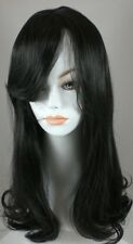 Long Black/Brown Straight Hair Wig w/Soft Curls & Bangs