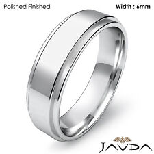 Men Wedding Plain Band Flat Step Solid Matte Ring 6mm Platinum 11.9gm 11-11.75