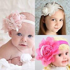 NEW! Girl Hair Headband Flower Ribbon Rose Pearl Hair Band Accessories ❤