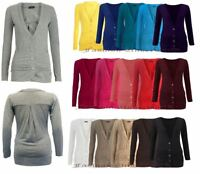 Womens Ladies Ruched Button Boyfriend Cardigan Top With Pocket Plus Size UK 8-26