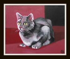 Ready to Pounce Cat  : Daily Impressionist Original Oil Painting by Terry  Wylde