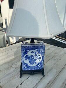 Vtg Chinese Porcelain TABLE LAMP Opium Pillow FOO Dog dragon Frederick Cooper