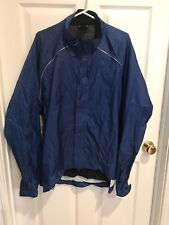 New Mens REI Jacket Cycling Windbreaker Nylon Navy Blue Reflective Size XL