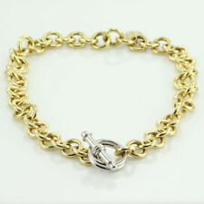DESIGNER T-BAR ROLO LINK NECKLACE HEAVY 138.0 g. SOLID 18K YELLOW & WHITE GOLD