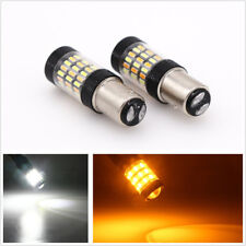 Pair 1157 4014 LED Dual Color Switchback 60SMD 12VDC Car Turn Signal Light Bulbs
