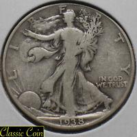 1938 Silver Walking Liberty Half Dollar 50c Fine Details 90% Silver