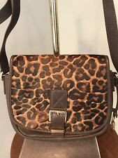 30b2cb7cab23a MIchael Kors Leopard Print Calf Hair and Leather Shoulder Bag Purse