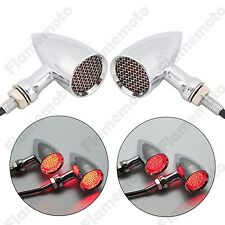 Chrome Red Motorcycle Mesh Lens LED Turn Signal Blinker Light Old School 3 Wire