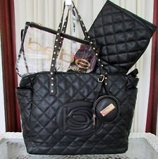 BEBE Olivia Diaper Tote Baby Bag Quilted Black Changing Pad Logo Pouch NWT