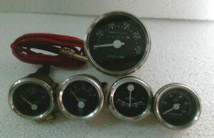 David Brown Tractor Tachometer + Temp + Oil Pressure + Amp + Fuel Gauge - Black