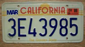 SINGLE CALIFORNIA LICENSE PLATE  - 1982/90 (1989) - 3E43985 - THE GOLDEN STATE