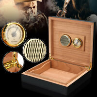 🔥 Black Cedar Wood Lined Cigar Humidor Storage Case Box + Humidifier Hygrometer