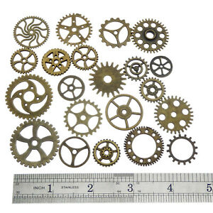 Antiqued Bronze Alloy Mixed Clock Steampunk Gear Pendant Charms 15mm 30mm 100pcs