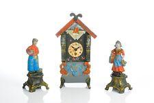 Superb Vintage Dutch Mid Century Mantel Clock Set  MOVED SHIP RARITY !!