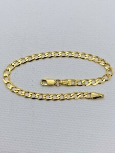 Solid 9ct Gold 3.5mm Baby Curb Bracelet 6 inch New