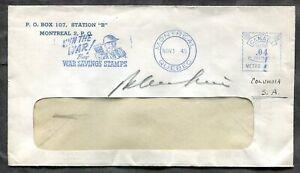 p1321 - MONTREAL Cover 1945 Meter Patriotic Slogan. Buy War Savings Stamps ✉