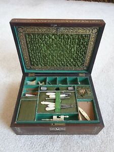 Very Good Quality Regency Rosewood Mother Of Pearl Inlaid Sewing Box & Contents