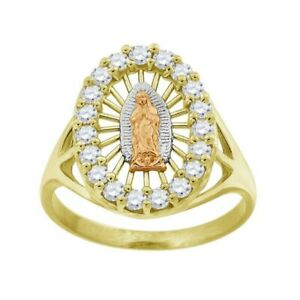 Solid 10KT Tri Color Gold Cubic Zirconia Lady Of Guadalupe Religious Ring Small