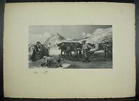 Agricoltori Lavoro Campi Incisione Verso 1900 Rives Bfk Sigillo Ats