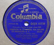 """78 rpm-12""""-VIOLIN BRONISLAW HUBERMANN-BACH CONCERTO IN LA MIN.PER VIOLINO ......"""