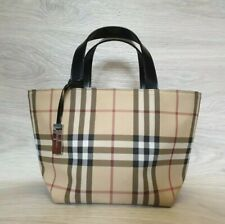 Burberry London Nova Check PVC Small Tote Coated Canvas Bag Satchel Beige