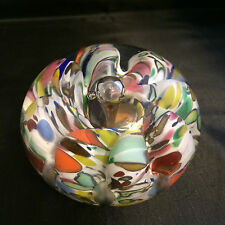 1974 St Clair Bob & Maude Hand Blown Multi Color Ribbon Paperweight, Art Glass