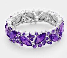 Purple Silver Cuff Crystal Rhinestone Wedding Pageant Stretch Formal Bracelet