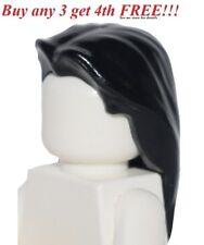 ☀️NEW Lego Boy Girl Minifig LONG BLACK HAIR Male Female Minifigure Head Gear Wig