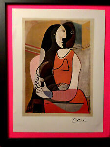 Pablo Picasso 1967 Original Print Hand Signed By Picasso, with LOA, New Frame